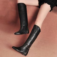 Pretty in Boots - Genuine Leather Knee-high Boots