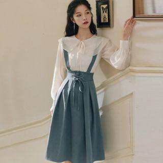 Nebbia - Set: Layered Collar Blouse + Lace Up Midi Suspender Skirt