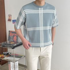 Seoul Homme - Checked Summer Knit Top