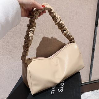 JAMEL(ジャメル) - Shirred Strap Plain Zip Shoulder Bag