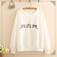 Kawaii Fairyland - Cat Embroidered Round-Neck Sweatshirt