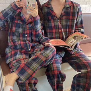 Fabricino - Couple Matching Set: Plaid Shirt + Pants