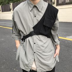 Koiyua - 可拆斜背包七分袖襯衫