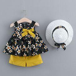 Mini Bae - Kids Set: Sleeveless Floral Print Top + Shorts + Sun Hat