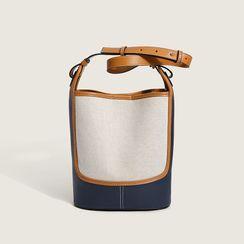 AGLORE - 插色帆布水桶型斜挎包