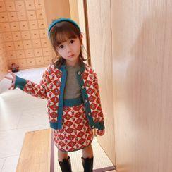 Ohori - Kids Set: Long-Sleeve Buttoned Knit Top + Skirt