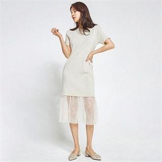 MAGJAY - Tulle-Hem Knitted T-Shirt Dress