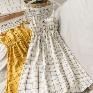 Lemongrass - Spaghetti Strap Checker Midi Dress