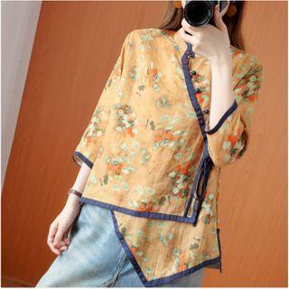 ZIMO - Floral Mandarin Collar Asymmetric Hem Blouse