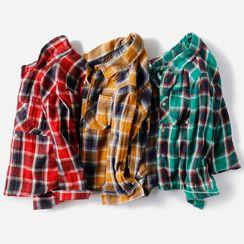 Happy Go Lucky - Kids Long-Sleeve Plaid Shirt