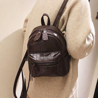 Whirl Twirl - Croc Grain Faux Leather Mini Backpack
