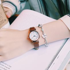 Luxxlo - Faux-Leather Strap Watch / Flower Bracelet / Set