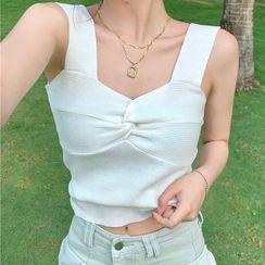 Pina Colada - Sleeveless Crinkled Knit Top