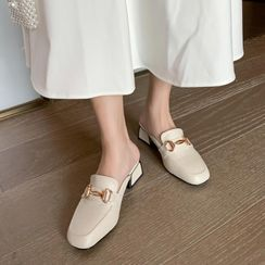 Shoes Galore - Block Heel Loafer Mules