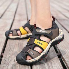 BELLOCK - Color Block Adhesive Strap Sandals