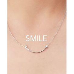 Miss21 Korea - Smile Bar Pendant Silver Necklace
