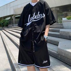 Whyessa - 套装:字母刺绣短袖上衣 + 宽腿运动短裤