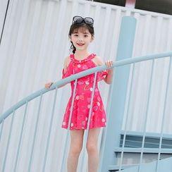 Atrov - Kids Short-Sleeve Cold Shoulder Patterned Swimdress