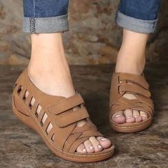 Weiya - Cutout Adhesive Strap Wedge Heel Sandals