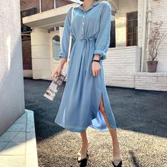 DEEPNY - Dip-Back Half-Placket Maxi Shirtdress with Sash