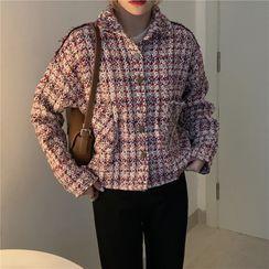 Finnegas - Plaid Tweed Cropped Jacket