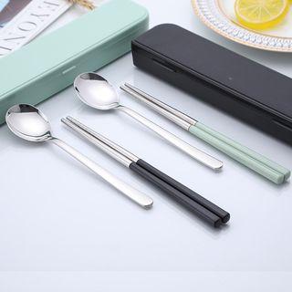 Nestal - 小童套装: 不锈钢筷子 + 勺子
