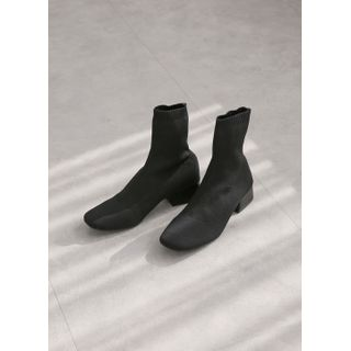 Styleonme - Square-Toe Low-Heel Sock Boots