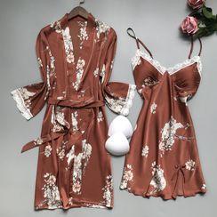 heartlyre - 套裝: 碎花絲質睡裙 + 睡袍