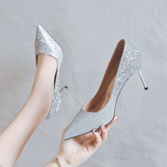 Achelois - Glitter Pointed Kitten-Heel Pumps