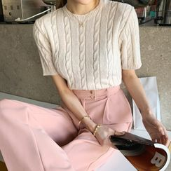 DEEPNY - Short-Sleeve Cable-Knit Top