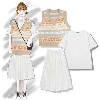 Pisang - 純色短袖T裇 / 印花針織馬甲 / A字中長裙