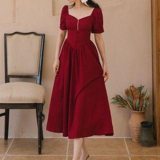 Waltzer - Short-Sleeve Midi A-Line Dress