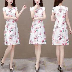 Theeno - Short-Sleeve Floral Print Qipao Dress