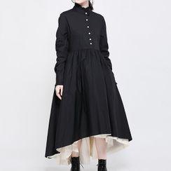 Ultra Modern - Ruffle-Collar Two-Tone Panel Midi A-Line Dress