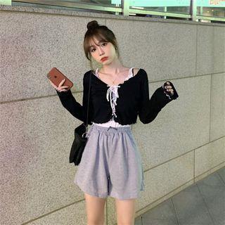 Vallepop - 双色调荷叶抽绳衬衫