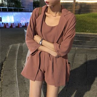 Sofame - Set: Plain Camisole Top + High Waist Shorts + 3/4 Blazer