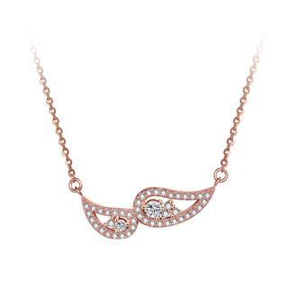BELEC - Elegant Personality Plated Rose Gold Angel Wings Necklace with Cubic Zircon
