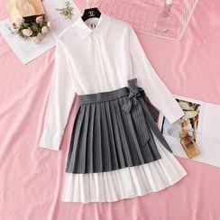 NINETTE - 套裝: 長袖百褶襯衫裙 + 條紋迷你裙