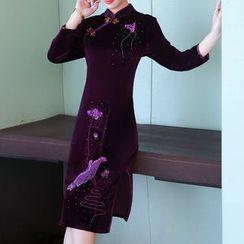 MIUCO - 長袖刺繡中身旗袍連衣裙