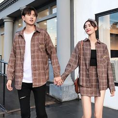 Azure(アズール) - Couple Matching Plaid Shirt / Asymmetric Mini A-Line Skirt