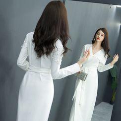 Chiggara - 仿珍珠长袖塑身晚礼服