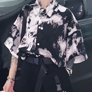 Chisan - 中袖扎染宽松衬衫