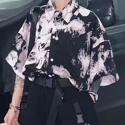 Chisan(チサン) - Tie-Dye Oversized Elbow-Sleeve Shirt