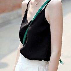 Spicy Dance - V-Neck Plain Chiffon Tank Top
