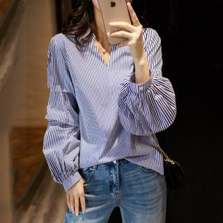 Happo - Long-Sleeve Striped Blouse