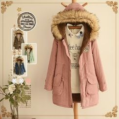 PANDAGO - Fluffy Trim Patch Embroidered Hoode Parka