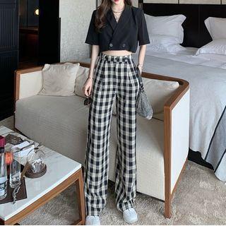 Pobblebonk(ポブルボンク) - Short-Sleeve Cropped Shirt / Plaid Wide Leg Pants
