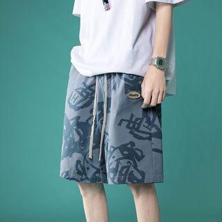 Artistman - Graphic Print Wide Leg Shorts
