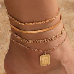 Yongge - Set of 4: Alloy Anklet (assorted designs)