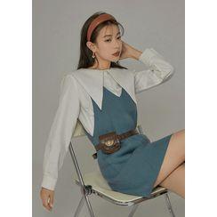 chuu - Pointy Lace-Collar Cotton Shirt